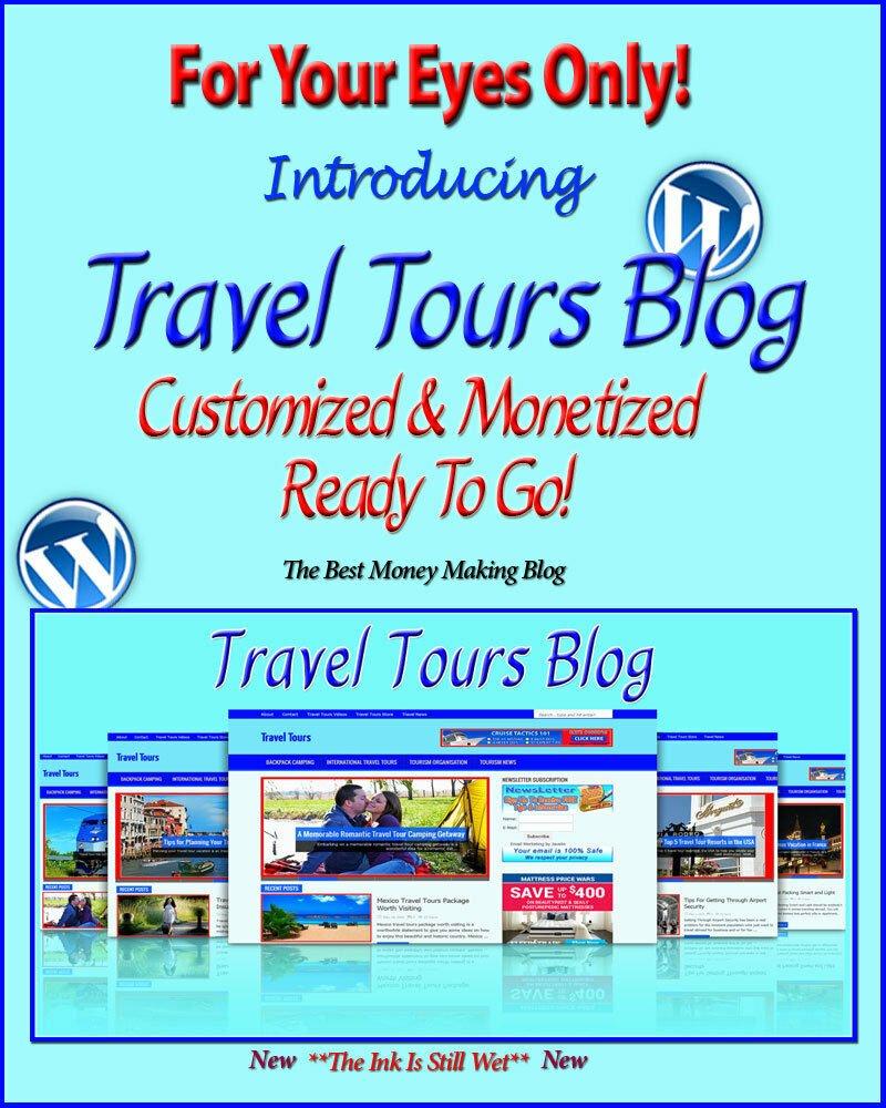 Travel Tours Blog Self Updating Website - Clickbank Amazon Adsense