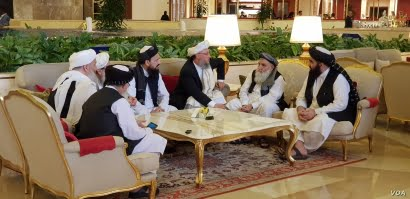 Members of the Taliban delegation are seen at the Sheraton Doha, before the start of the intra-Afghan dialogue, in Doha, Qatar, July 7, 2019. (A. Tanzeem/VOA)