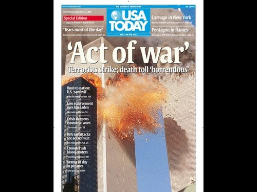 The front page of USA Today from Sept. 12, 2001.