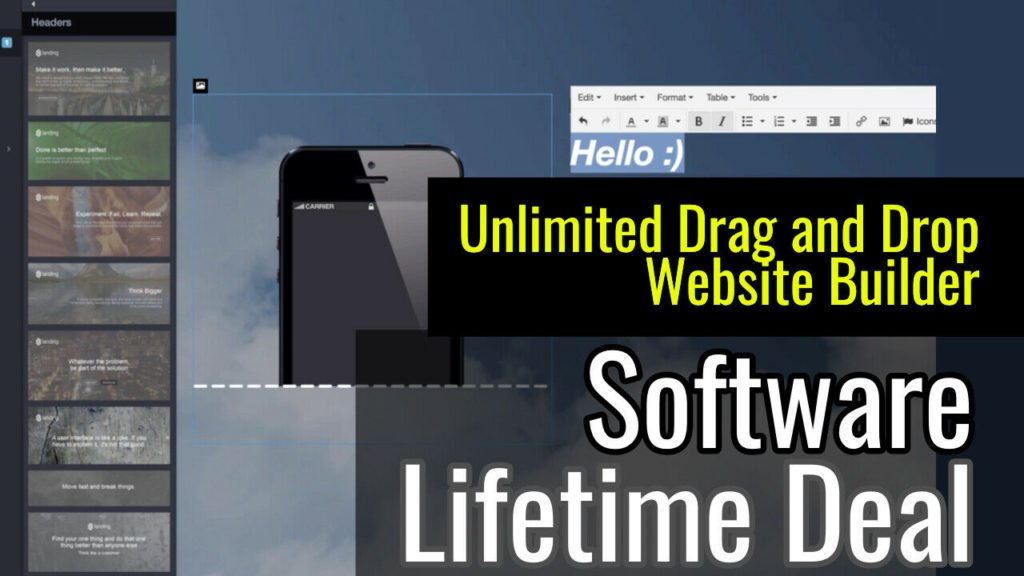 Unlimited websites with drag and drop elements, lifetime access software