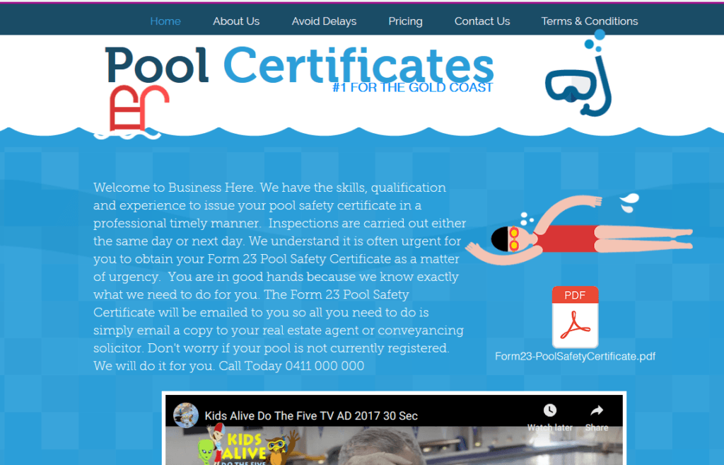 Website Ready - Website For Sale. Pool Safety Certificate Website.