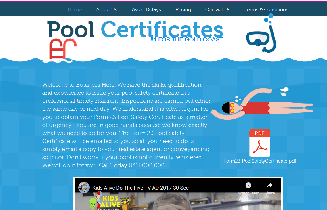Website Ready - Website For Sale. Pool Safety Certificate Website.