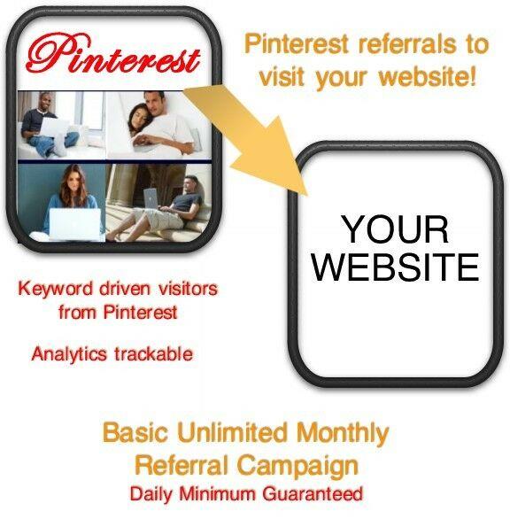 Website Visitors- 15 days/6000 Pinterest Referrals/Visitors to your website