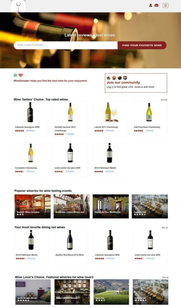 Wines and Wineries Review Board as Web Application with mobile responsive design