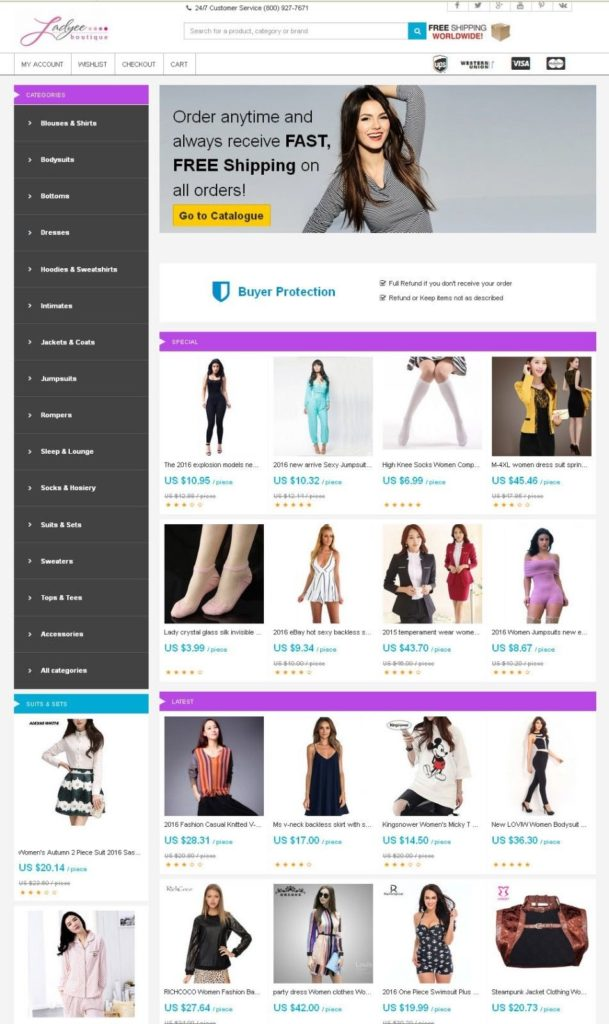 Women's Clothing Store - AliExpress Niche Affiliate Website