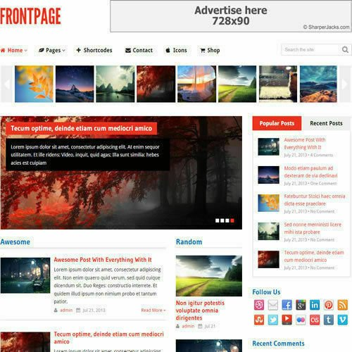 WordPress 'FRONTPAGE' Website eCommerce Magazine Theme For Sale (FREE HOSTING)