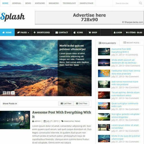 WordPress 'SPLASH' Website eCommerce Magazine Theme For Sale (FREE HOSTING)