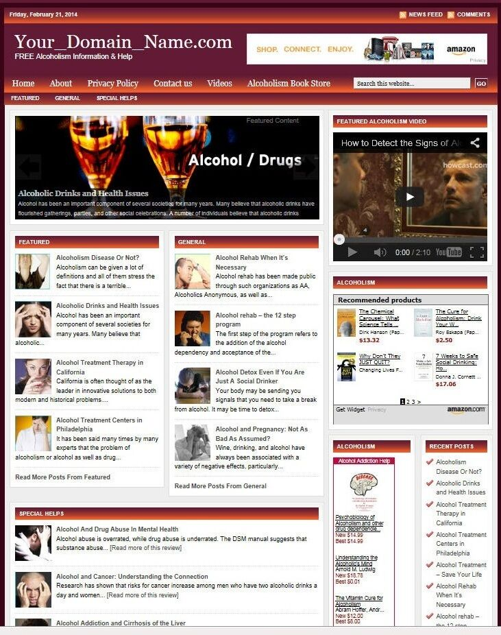 niche ALCOHOL ADDICTION WEBSITE BUSINESS FOR SALE! with TARGETED SEO CONTENT
