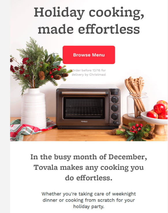 Tovala newsletter example: When thinking of ideas for your email newsletter, consider an email with recipes.