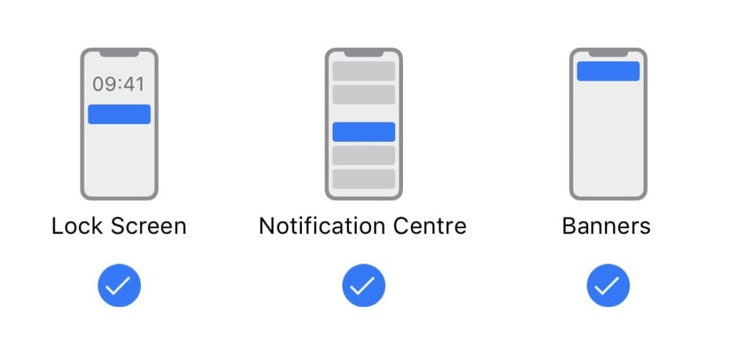 mobile push notifications alerts are presented in three locations