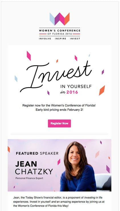 """Invest in yourself."" Use an emotional appeal to connect with your subscriber prior to an event."