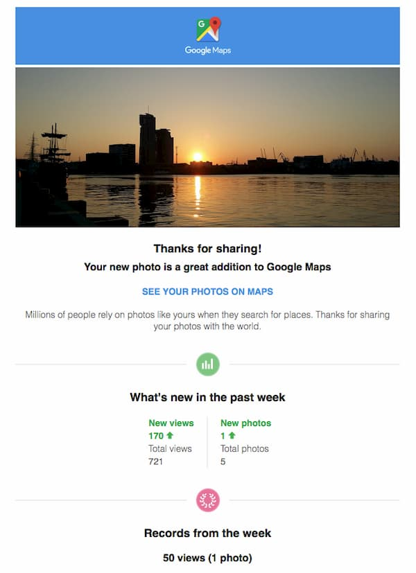 Automated thank you email for Google Maps users
