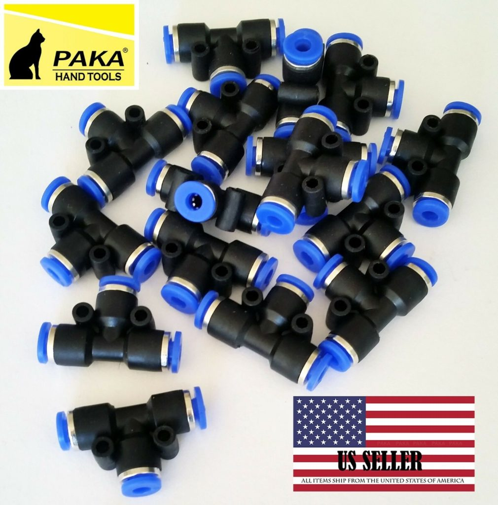 """10x  Pneumatic Tee Union Connector Tube OD1/8"""" 4mm One Touch Push In air fittin"""
