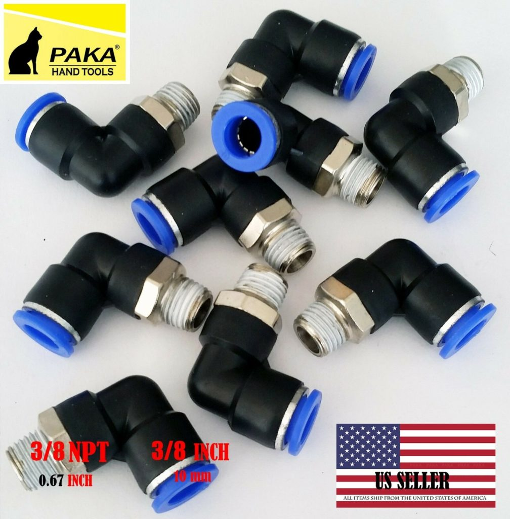 "20x Pneumatic Male Elbow  Connector Tube OD 3/8"" (10mm) X NPT 3/8 PU Air Push In"