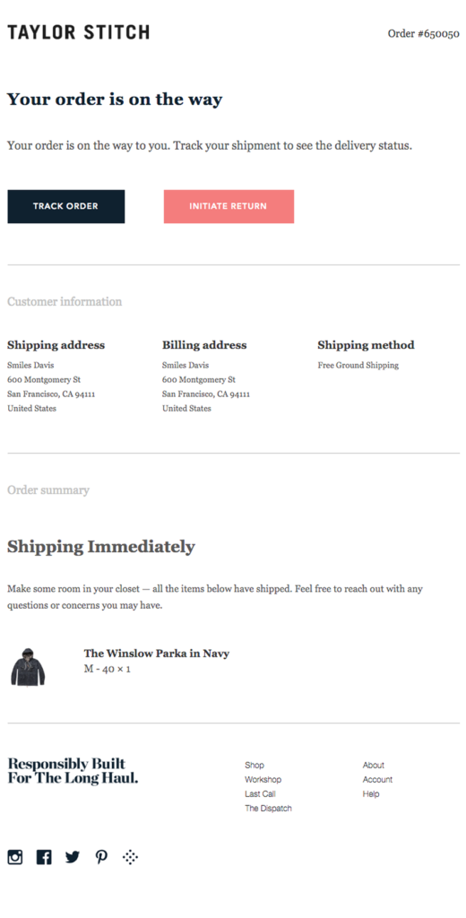 Shipping confirmation by Taylor Stitch ecommerce email example