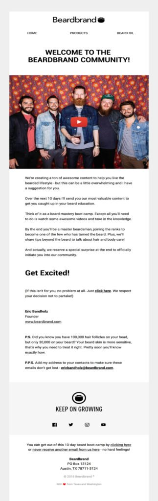 Beardbrand email showing an example of a welcome message and email drip campaign beginning