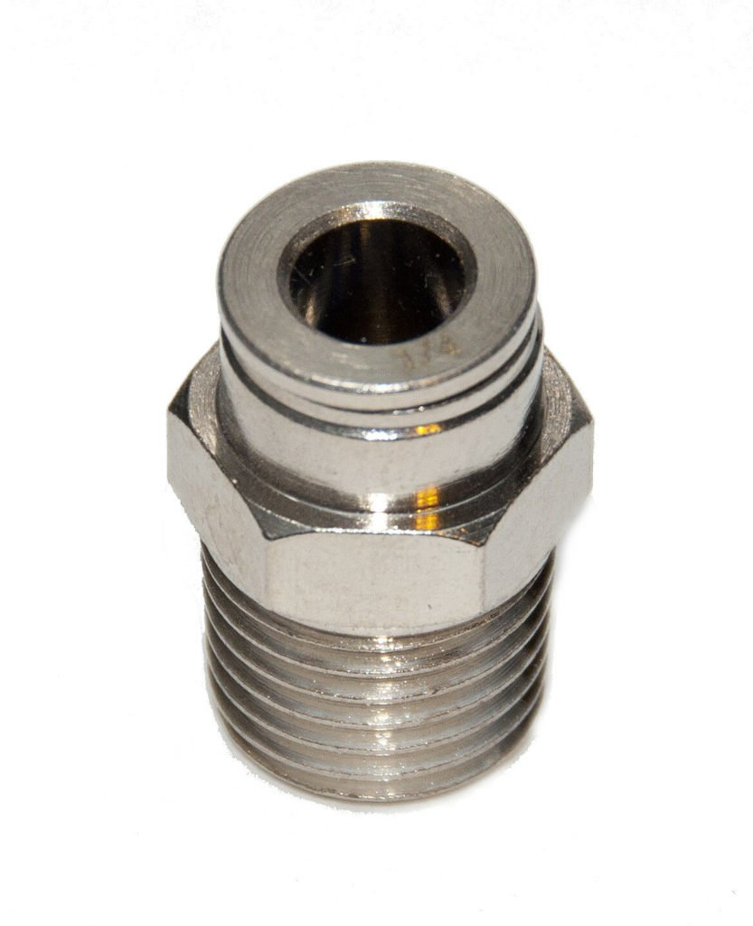 5 PCS 1/4 OD x 1/4 NPT  Male Connector Metal Push In to Connect Tube Fitting