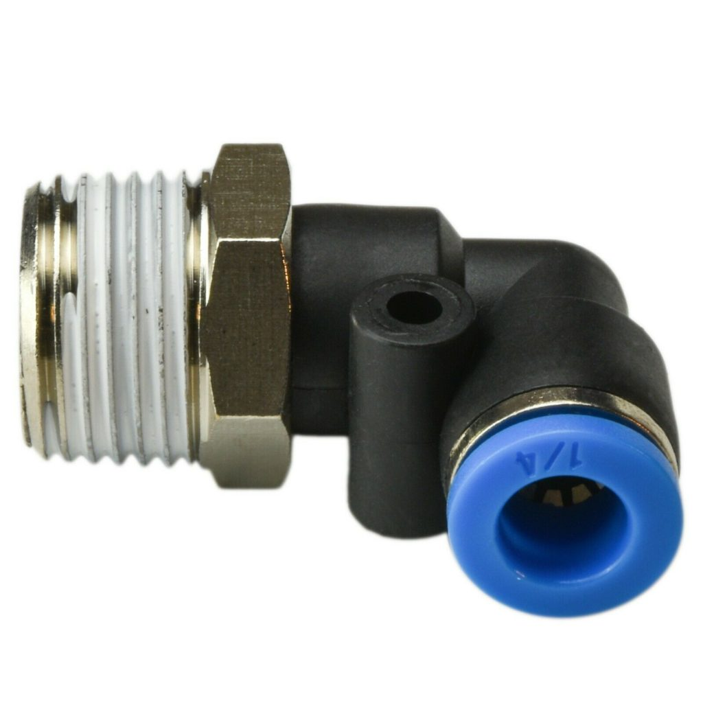 (5 PCs) Pneumatic Male Elbow Connector (1/4 X 3/8) Quick Release Air (BLUE)