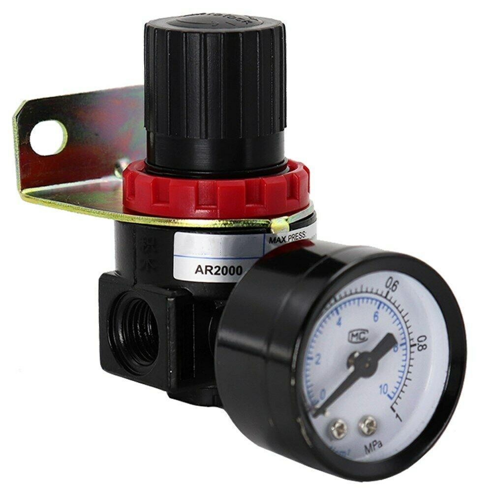 "AR2000 1/4"" Pneumatic Air Compressor Pressure Regulator Reduction Valve +Bracket"