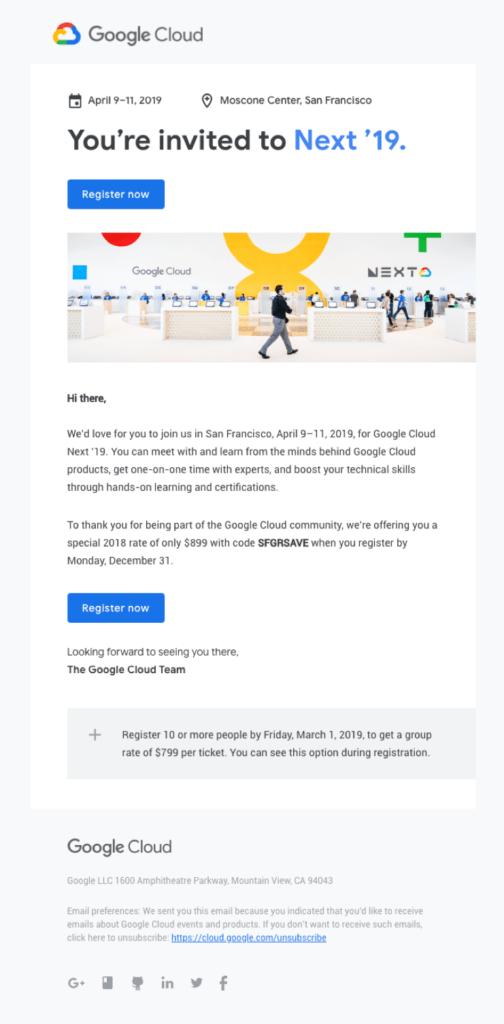 google cloud invitation email