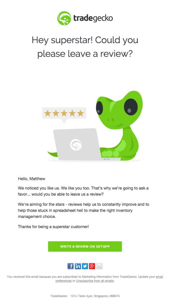 TradeGecko customer review request
