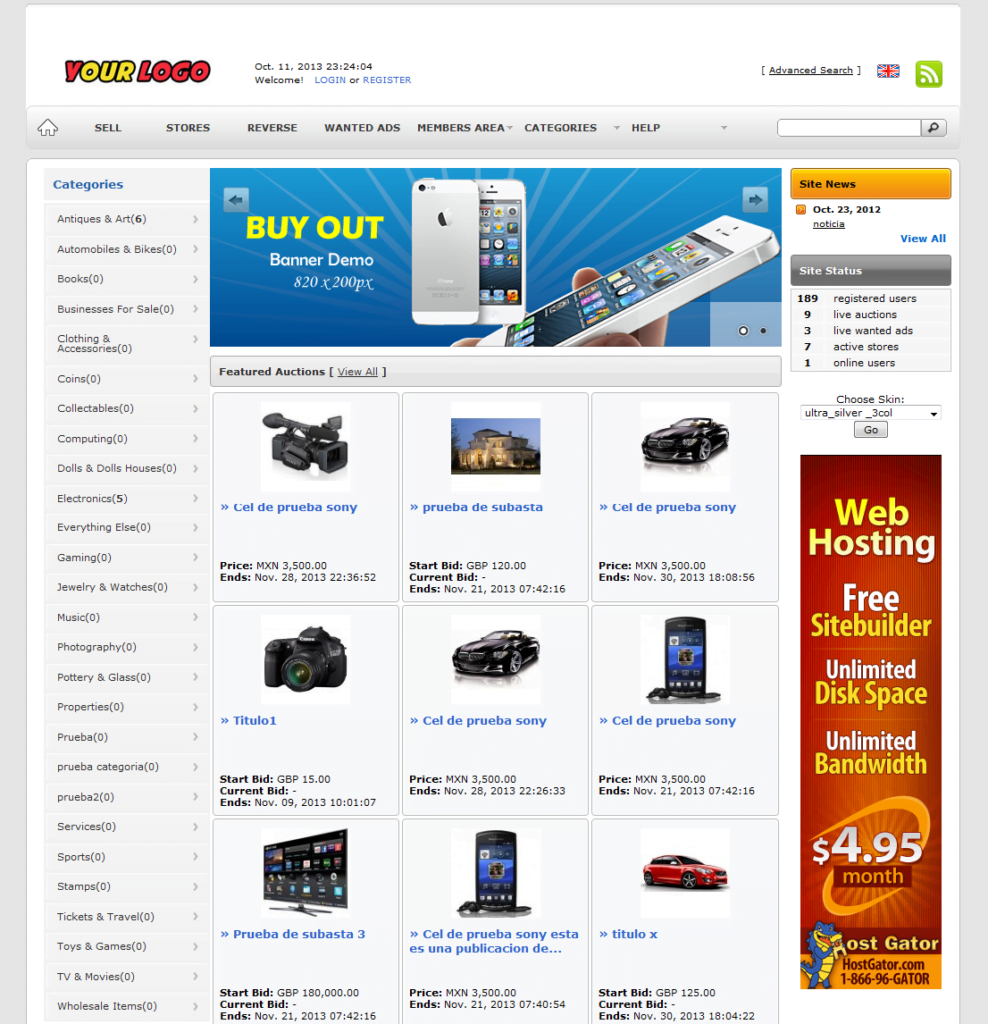 EBay Clone Auction Website (Silver) - Free Install + Hosting with SSL included