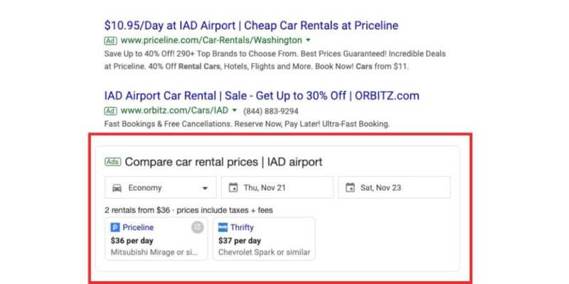 Google testing car rental comparison ad unit in search results