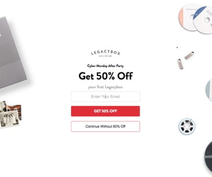 Legacybox Cyber Monday Website Popup Examples
