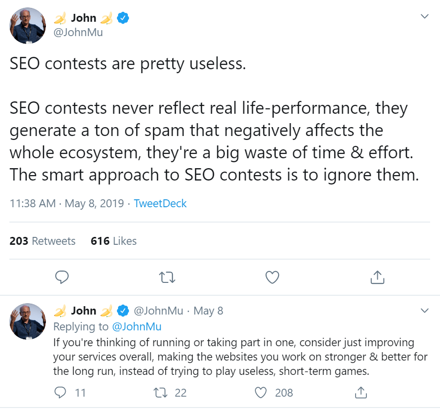 John Mueller's tweet about SEO Contests