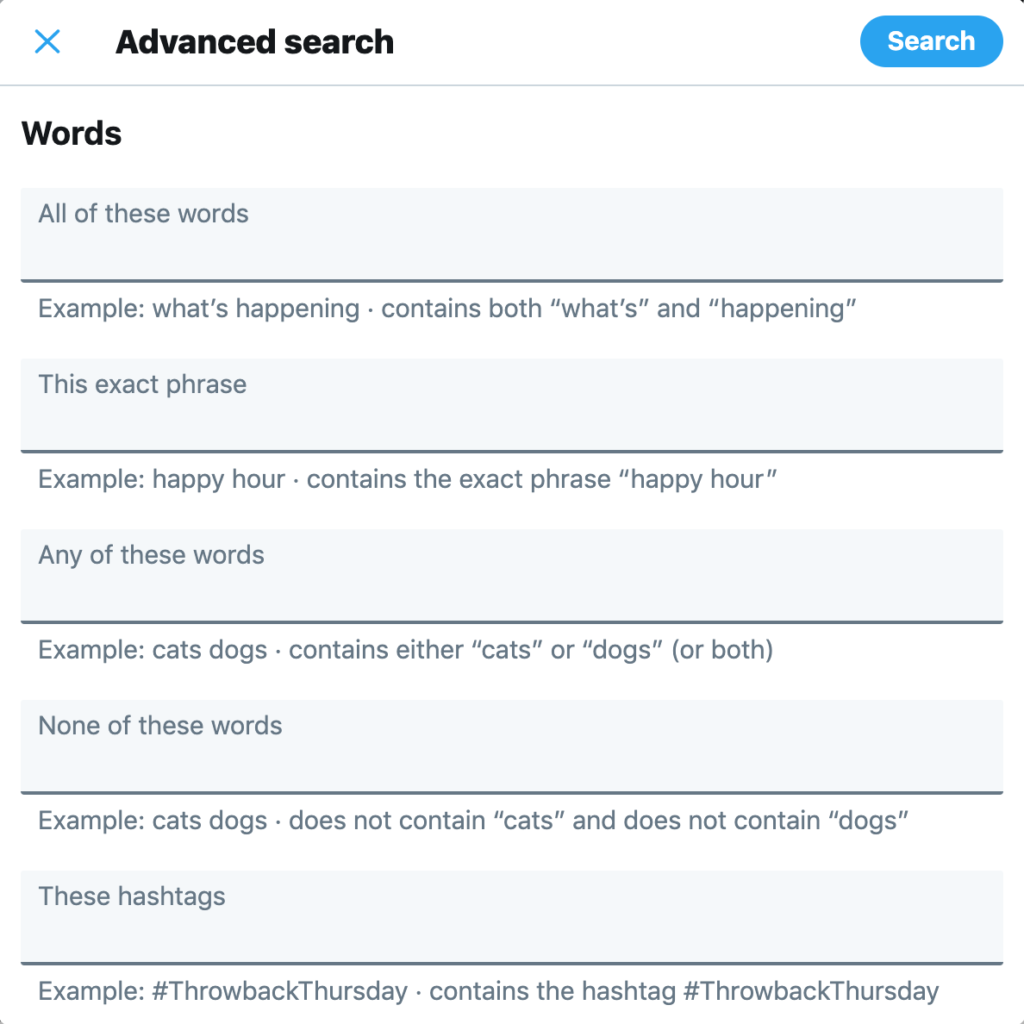 how to search your twitter history - twitter advanced search