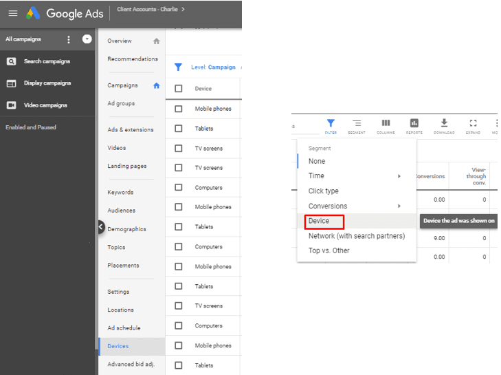 New Google Ads Device Target