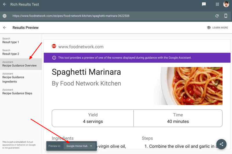 Preview your recipe results on Google Home Hub devices