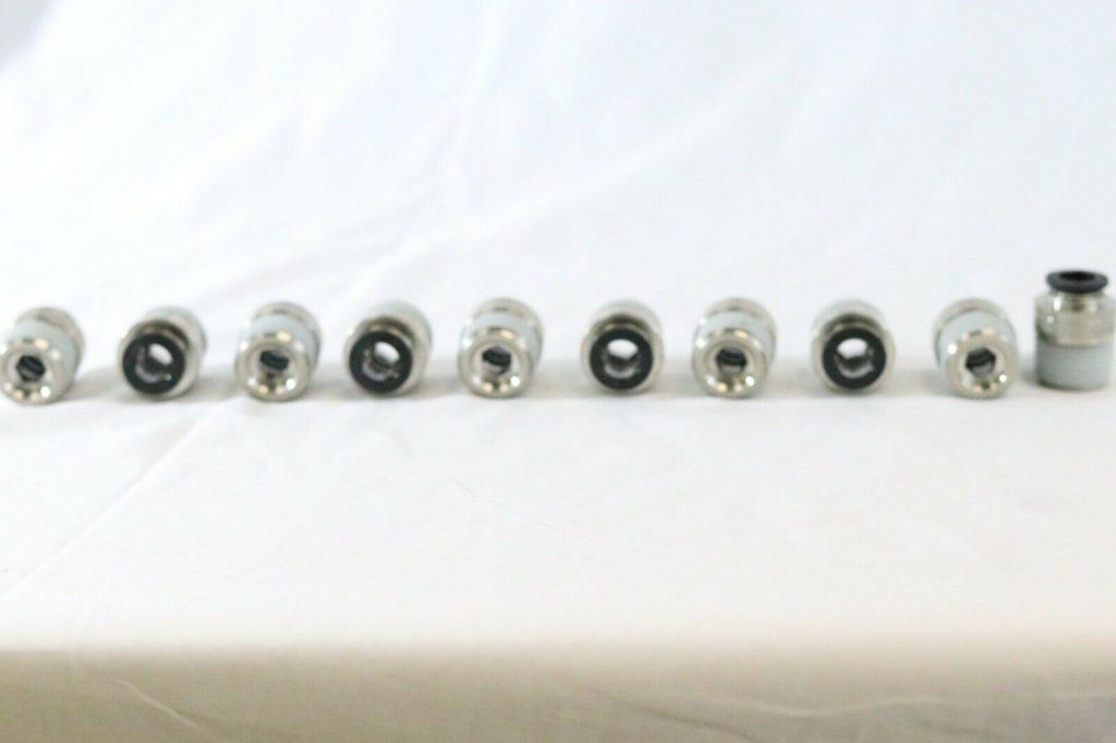 "TPC Pneumatics 3/8"" Tube x 1/2"" NPT Male Straight Push Connect Fittings 10 Piece"