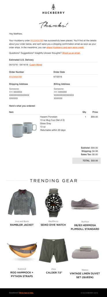 This Huckberry email example shows how Receipts, Rewards, and Referrals can be effective.