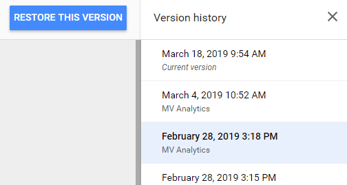 Version History in Google Data Studio Now Available