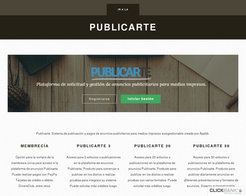 Publicarte Power By Conpaca - Development and design of websites for focusing on content publishing