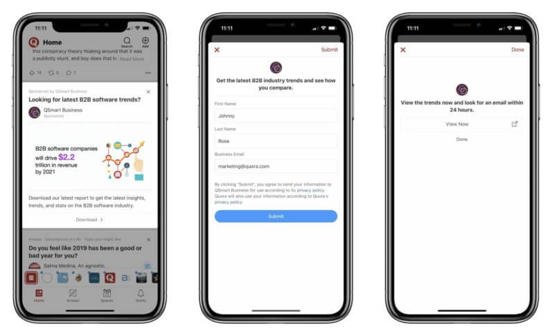 Quora testing lead gen forms for advertisers