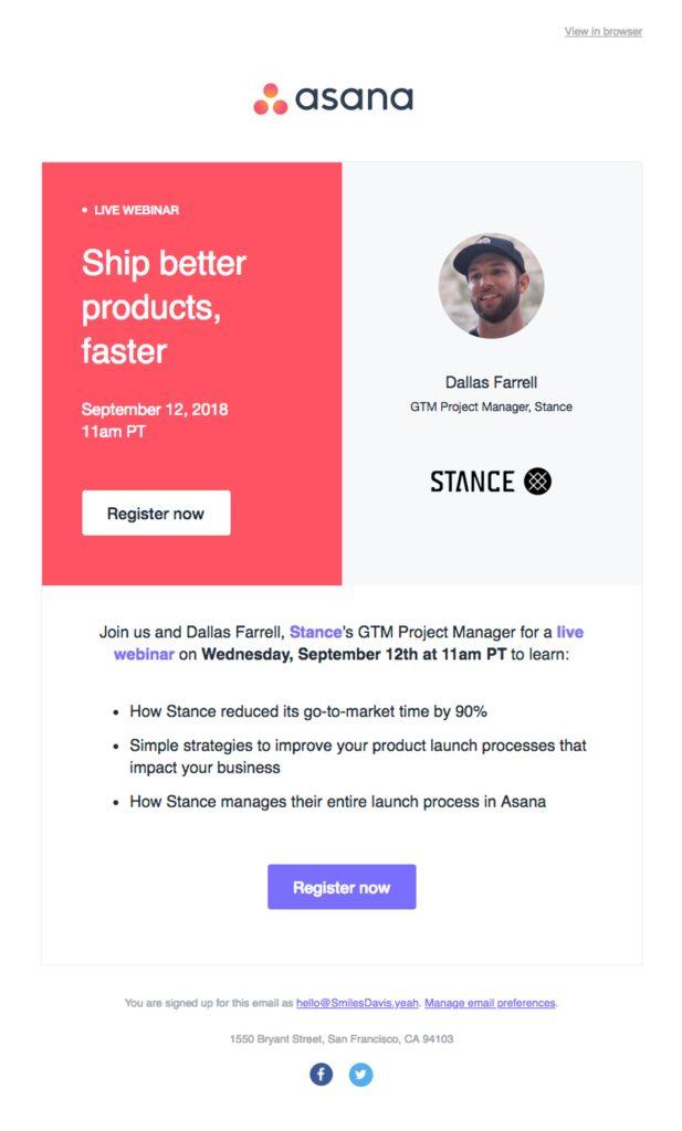 Webinar email invite example