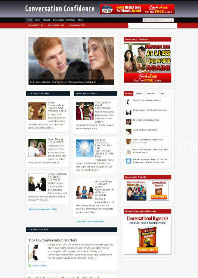 CONVERSATION CONFIDENCE BLOG & WEBSITE WITH AFFILIATE STORE AND BANNERS