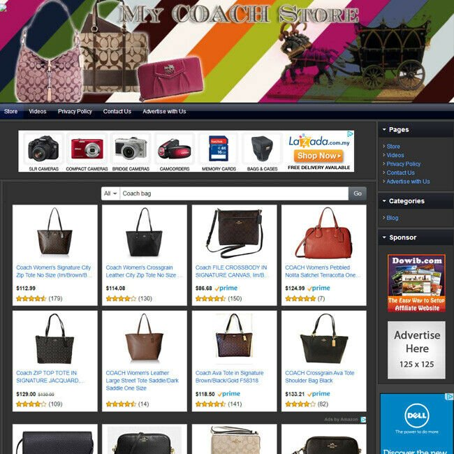 DESIGNER COACH HANDBAG PURSE STORE - Premium Affiliate Business Website For Sale