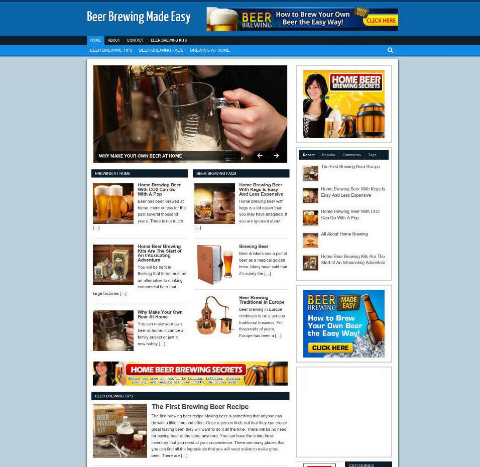 EASY BEER BREWING AFFILIATE WEBSITE / BLOG WITH BANNERS & STORE PAGES + DOMAIN