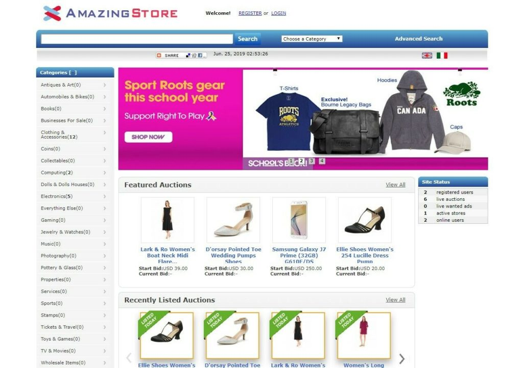 EBay Clone Auction Website (Blue) - Free Install + Hosting with SSL included