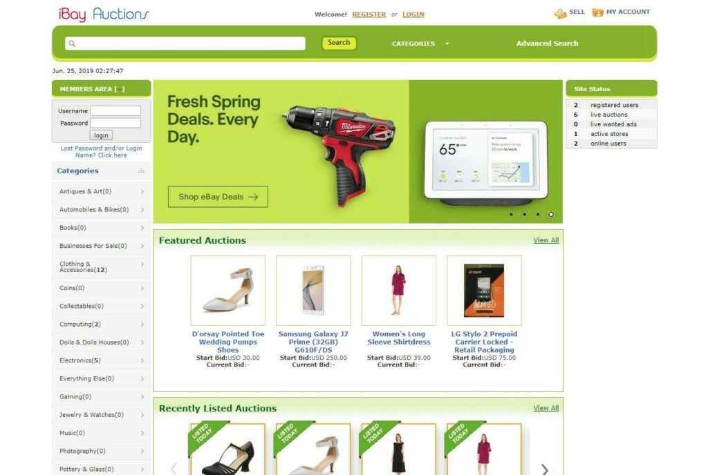 EBay Clone Auction Website (Green) - Free Install + Hosting with SSL included