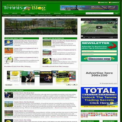 Established 'TENNIS' Affiliate Website Turnkey Business For Sale (FREE HOSTING)