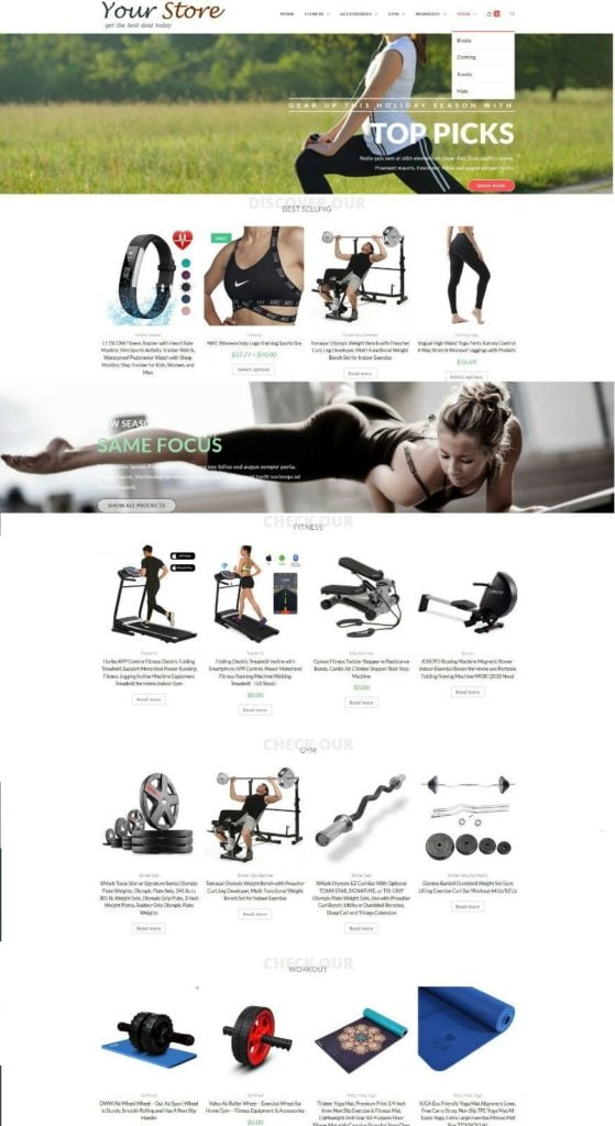 Exercise & Fitness Store - eCommerce Website + Amazon Affiliate + Free Hosting