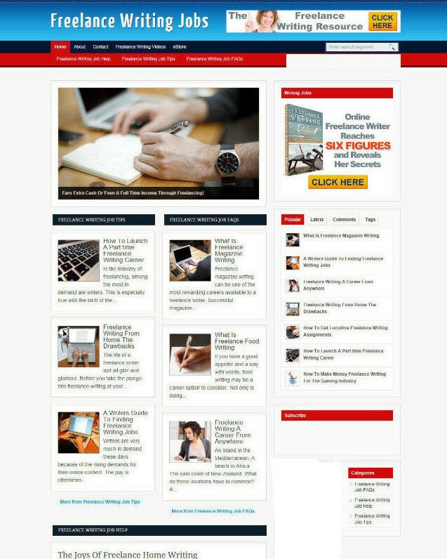 FREELANCE WRITING ADVICE BLOG & WEBSITE WITH AFFILIATE STORE AND BANNERS