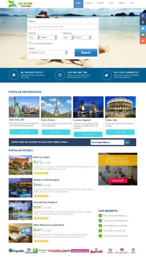 HOTEL, FLIGHT, CRUISES & CAR RENTAL Affiliate Website - Fully Automated