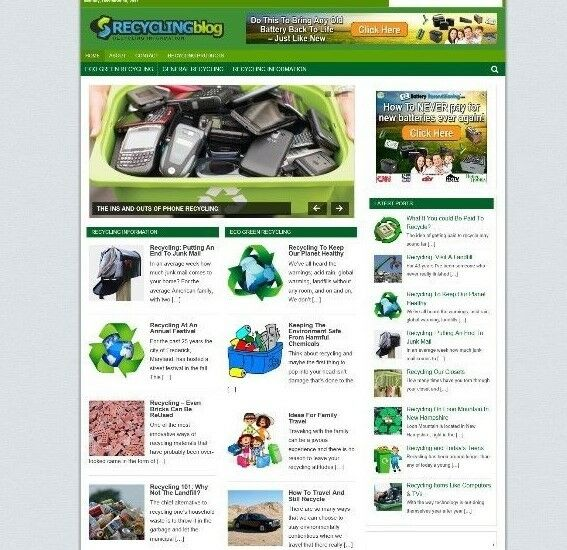 RECYCLING WEBSITE WITH AFFILIATE STORE WITH NEW DOMAIN & HOSTING + BANNERS ETC