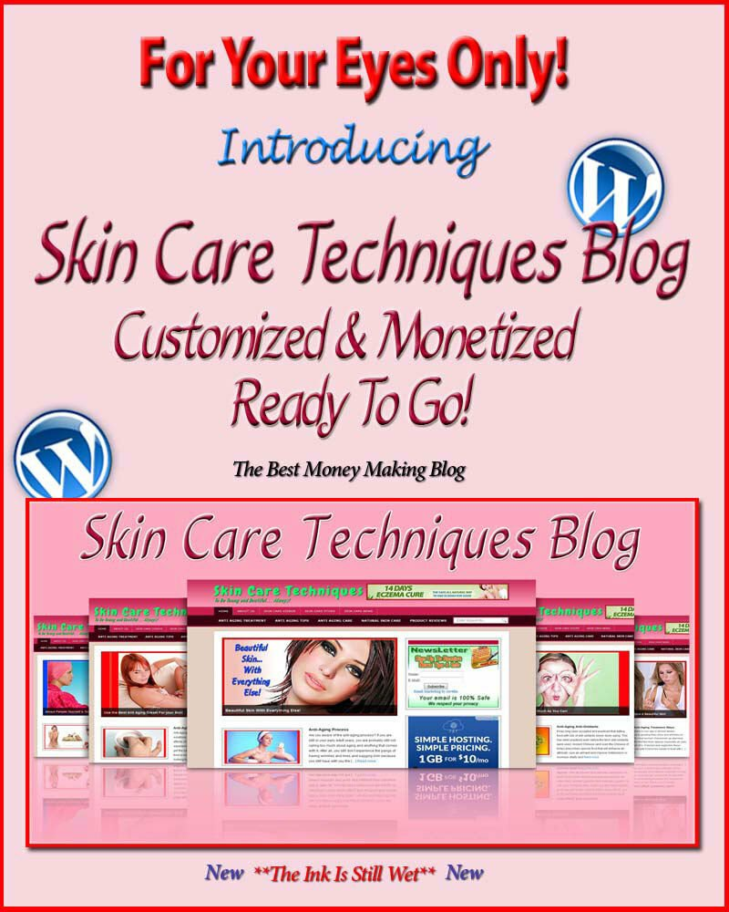 Skin Care Blog Self Updating Website with Clickbank Amazon Adsense Pages