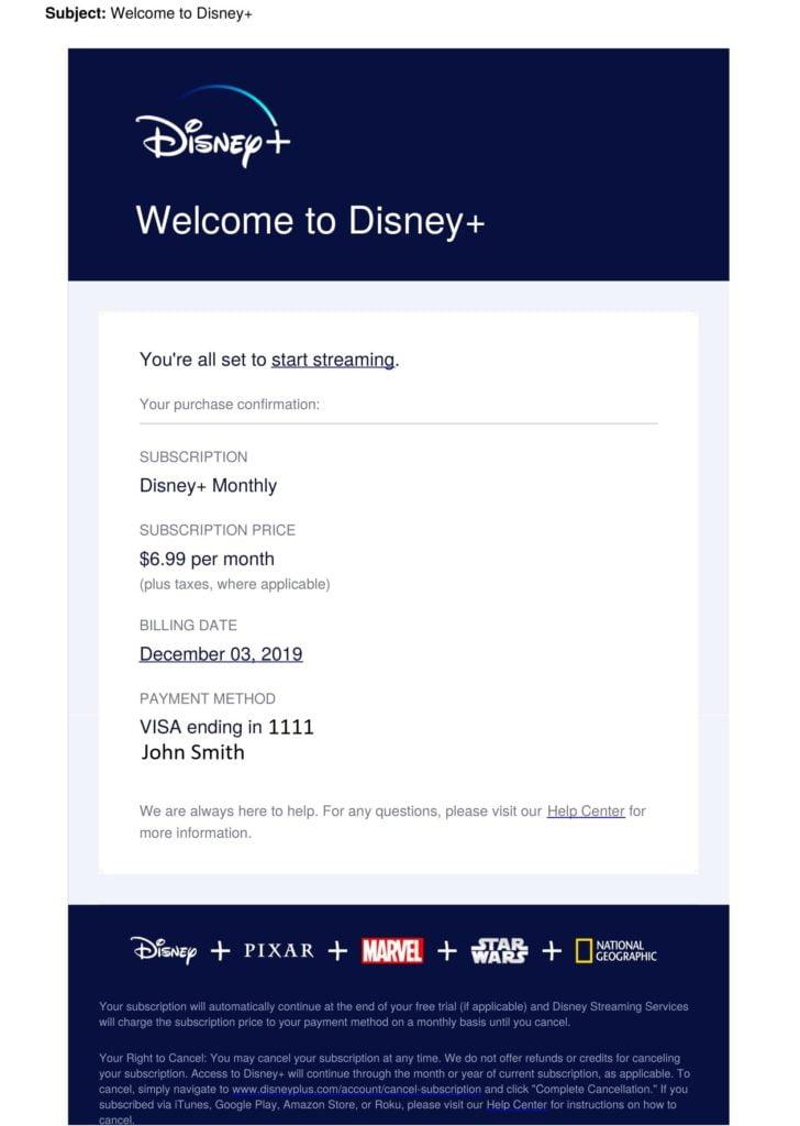 Disney subscription template